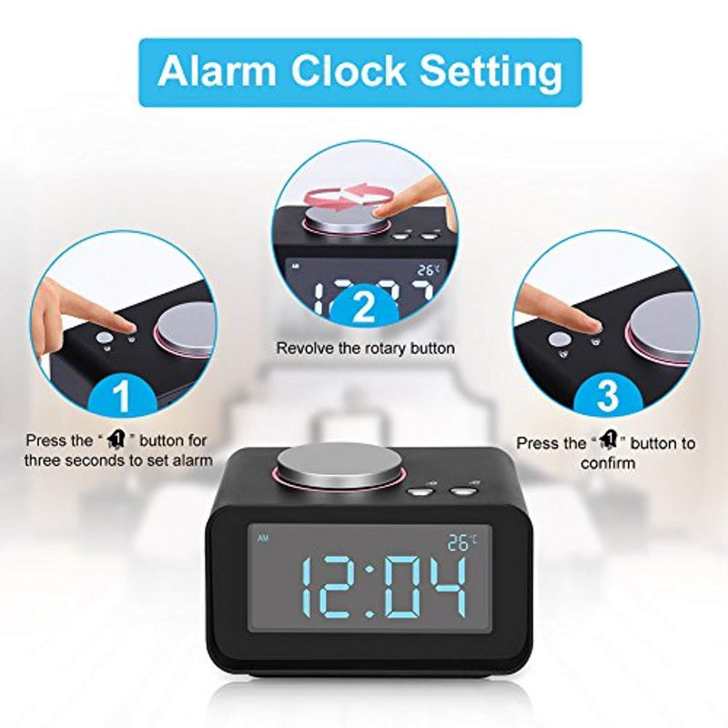 "YISSVIC Digital Alarm Clock with 3.2"" Display FM Radio AUX-in Speaker Indoor Thermometer 2 USB Charger Port Snooze and Dual Alarm for Bedroom Black (3.2'')"