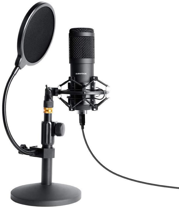 USB Streaming Podcast PC Microphone, SUDOTACK Professional 96KHZ/24Bit Studio Cardioid Condenser Mic Kit with Sound Card Desktop Stand Shock Mount Pop Filter, for Skype Youtuber Gaming Recording