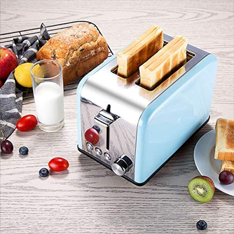 Toaster 2 Slice, CUSINAID Extra Wide Slots Toaster with BAGEL/DEFROST/CANCEL Function, Stainless Steel Two Slice Bread Bagel Toaster, 825W, Retro Blue