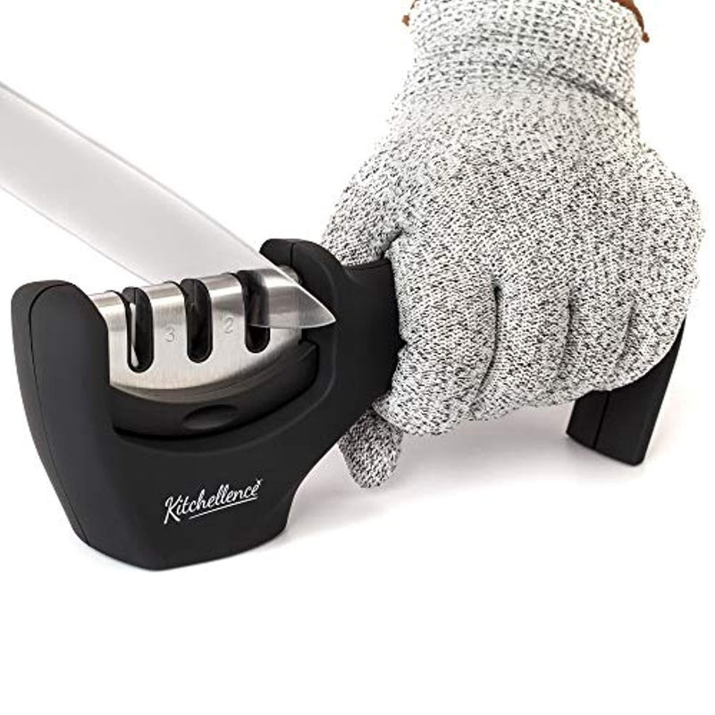 Manual Knife Sharpener,Kitchen Knife Sharpeners - 3 Stage Diamond Coated, Tungsten and Ceramic Wheel System