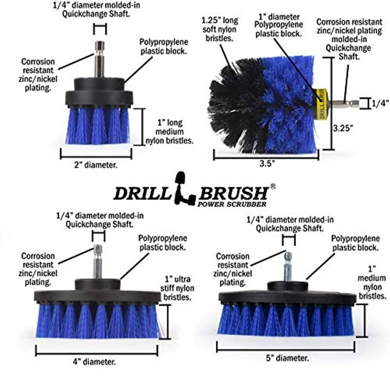 Drillbrush Swimming Pool Accessories - Drill Brush Power Scrubber Kit - Pool Brush for Vinyl Liners - Hot Tubs and Spas Jacuzzi - Pool Cover Brush Heads - Hot Tub Power Scrub Brushes - Walls and Deck