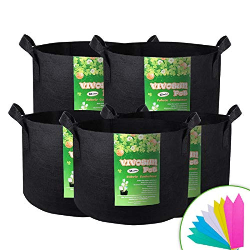 VIVOSUN 5-Pack 10 Gallon Plant Grow Bags, Premium Series Thichkened Non-Woven Aeration Fabric Pots w/Handles - Reinforced Weight Capacity & Extremely Durable (Black)