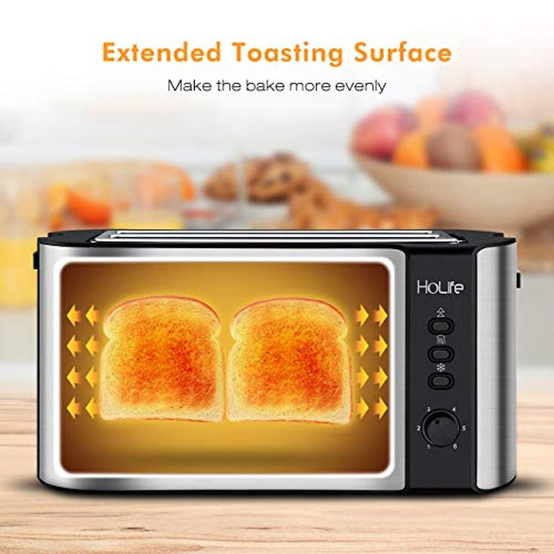 HoLife 4 Slice Long Slot Toaster Best Rated Prime, Stainless Steel Bread Toasters with Warming Rack, 6 Bread Shade Settings, Defrost/Reheat/Cancel Function, Extra Wide Slots, Removable Crumb Tray