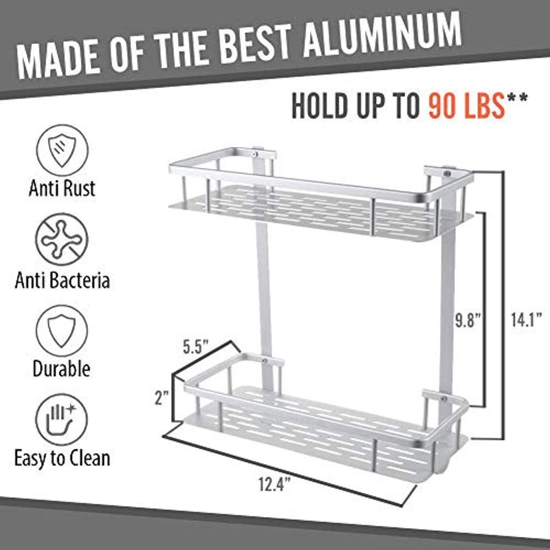 "Anti-Rust Aluminum 2-Tier Wall Mount Bathroom Shelf Organizer with Hooks, Heavy Duty Shower Shelf Basket Caddy Storage for Bathroom Bedroom Kitchen and Installation with Adhesive, Silver, 12"" x 5"" x 14"""