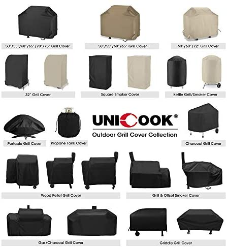 "Unicook Heavy Duty Waterproof Dome Smoker Cover, 30"" Dia by 36"" H, Kettle Grill Cover, Barrel Cover, Water Smoker Cover, Fit Grill/Smoker for Weber Char-Broil and More"