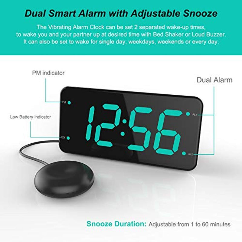 Digital Alarm Clock with Bed Shaker, Extra Loud Alarm, 7-inch Large Display, USB Charger, Full Range Dimmer, USB Night Light – Eye Protection Green