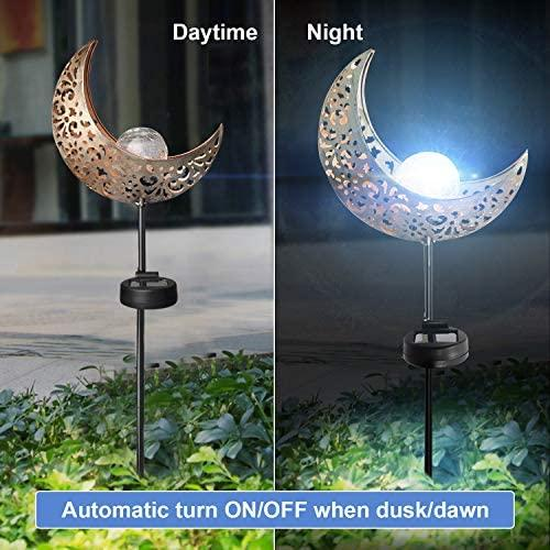 ATHLERIA Garden Solar Lights Outdoor Decorative, 2 Pack Crackle Glass Ball Solar Light with Moon Hollowed-Out Metal, Waterproof Solar Powered Lighting for Lawn, Pathway, Patio, Yard