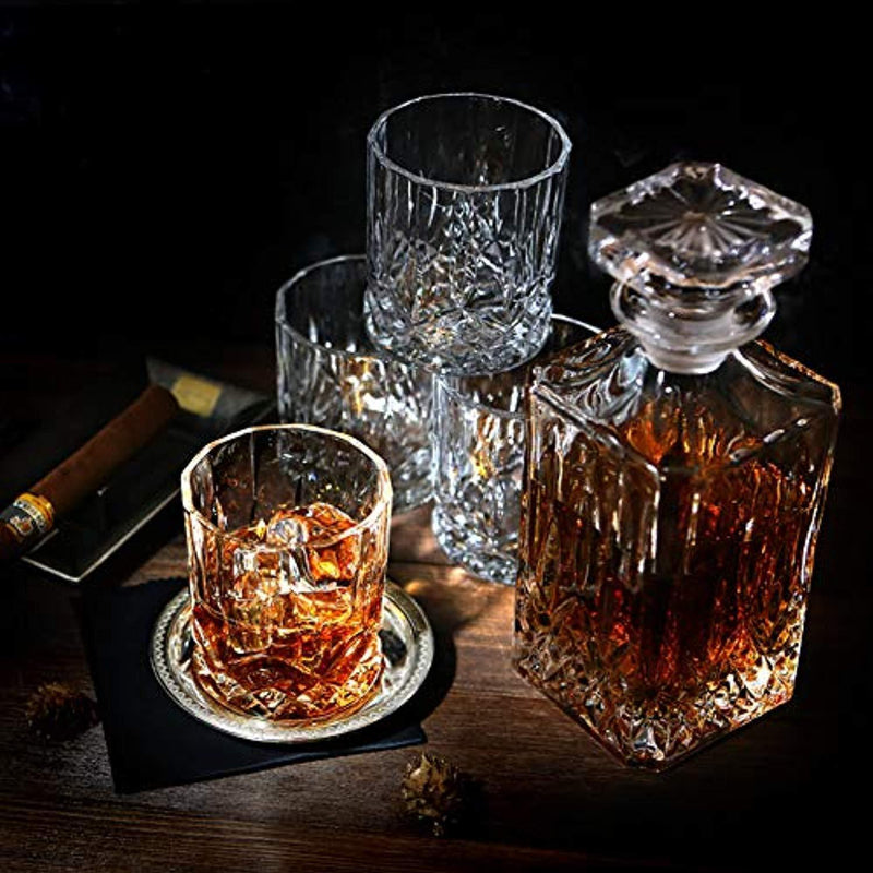 ELIDOMC 5PC Italian Crafted Crystal Whiskey Decanter & Whiskey Glasses Set, Crystal Decanter Set With 4 Whiskey Glasses, 100% Lead Free Whiskey Glass Set