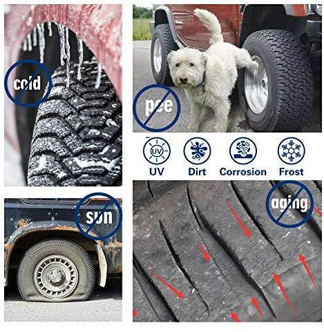 "VIEFIN Set of 4 Wheel Tire Covers, Waterproof UV Sun RV Trailer Tire Protectors, Fit 27"" to 41"" Truck Camper Van Auto Car Tires Diameter"