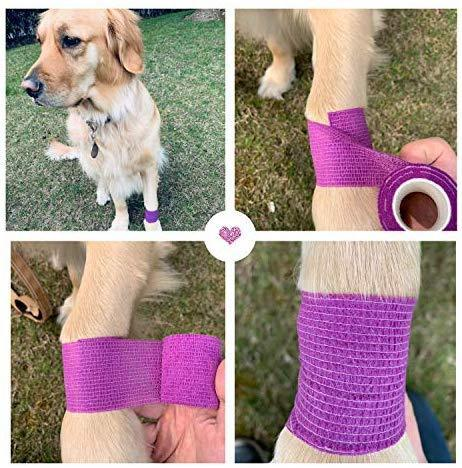 WePet Vet Wrap, Vet Tape Bulk Self-Adherent Gauze Rolls Non-Woven Cohesive Bandage First Aid for Dogs Cats Horses Birds Animals Strong Sports Tape for Wrist Healing Ankle Sprain & Swelling