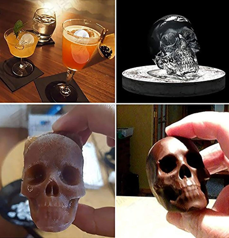 Ouddy 2 Pack Ice Ball Maker Skull Mold, Silicone Ice Cube Trays, Giant Black Skull & Round Ice Cube Maker for Whiskey Wine, Cocktails and Beverages