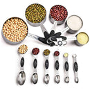 Magnetic Measuring Spoons and Stainless Steel Measuring Cups Set of 11, 5 Measuring Cups & 6 Double Sided Stackable Magnetic Measuring, Measuring Dry and Liquid Ingredients.