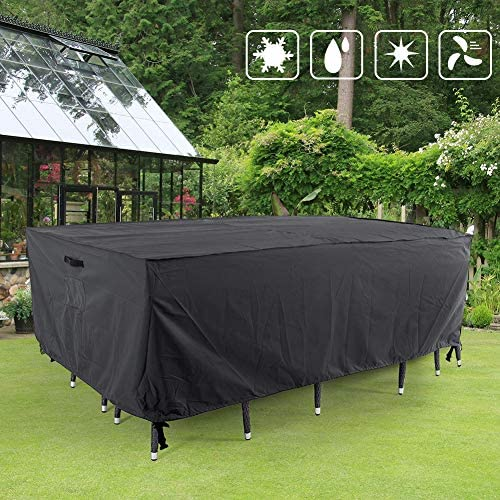 FLYMEI  Patio Furniture Cover, Waterproof, Tear-Resistant, UV Resistant Outdoor Table and Chair, Sofa, Sectional Cover, Space Grey, 90x60 inches