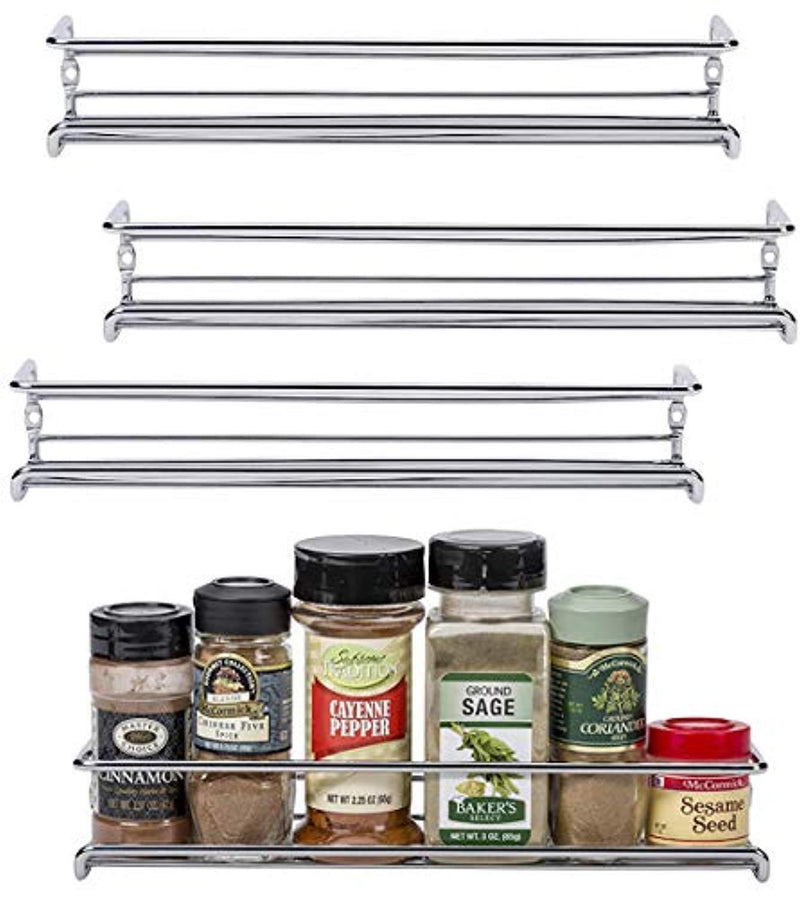"Unum Chrome Wall-Mount/Cabinet Door Spice Rack (x4) – Single Tier Hanging Spice Organizers/Racks for Pantry, Kitchen Wall/Cupboard, Over Stove, and Closet Door Storage – 11 3/8""L x 3""D x 2""H"