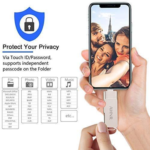USB Flash Drives for iPhone 128GB [3-in-1] OTG Jump Drive, AHNR Thumb Drives External Micro USB Memory Storage Pen Drive, USB 3.0 Flash Memory Stick for iPhone, iPad, iOS, Android, PC(Silver)