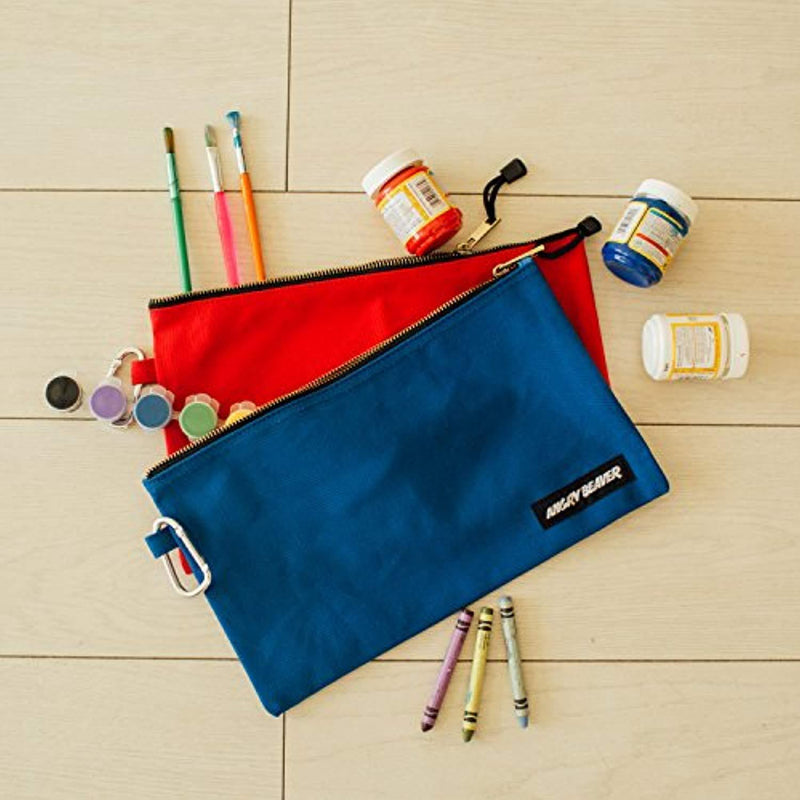 Canvas Tool Pouch with Zipper, 5 Pack, Utility Organization Bags, Heavy Duty Metal Zipper and Carabiner, by Angry Beaver