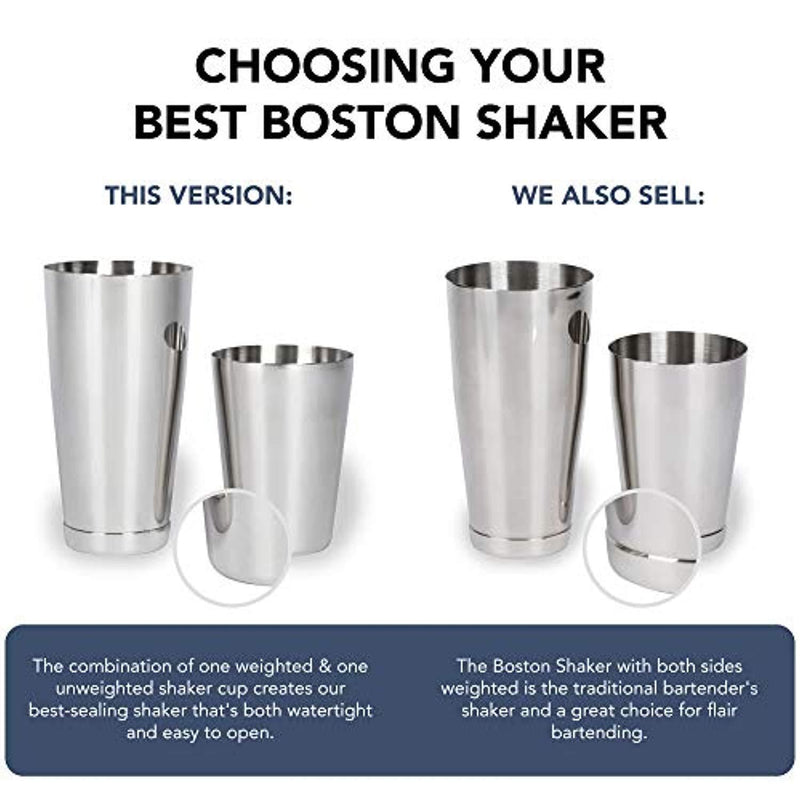 Boston Shaker: Professional Stainless Steel Cocktail Shaker Set, including 18oz Unweighted & 28oz Weighted Shaker Tins by Top Shelf Bar Supply
