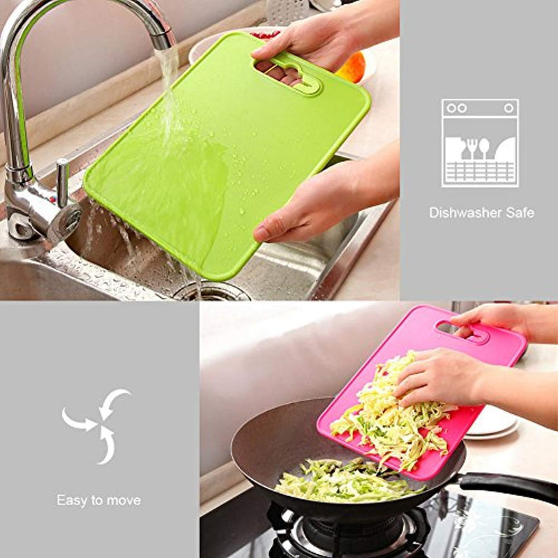 Cutting board with knife sharpener for kitchen, Smeala extra thick non-slip plastic cut and best for food safety cutting mats, 29.9 x 20.8 x 0.26 inches, Green, 11.6 x 8.78 x 0.26 inches