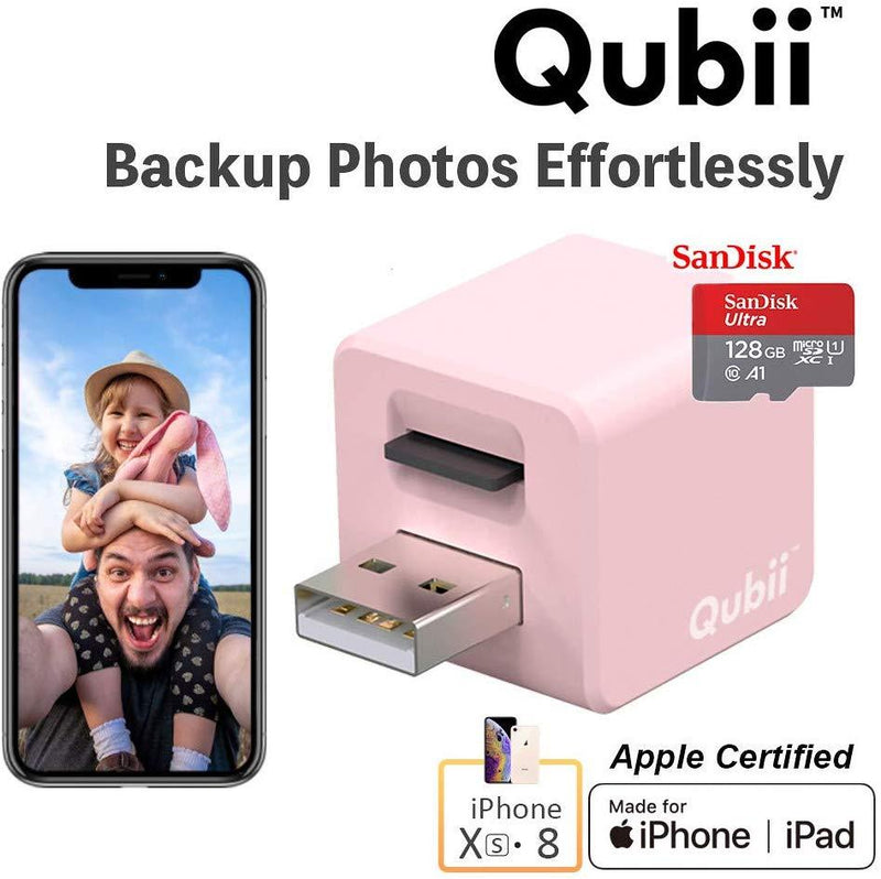 Flash Drive for iPhone, Auto Backup Photos & Videos, Photo Stick for iPhone, Qubii Photo Storage Device for iPhone & iPad【microSD Card Not Included】- Pink