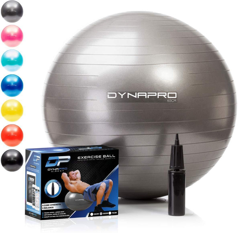 DYNAPRO Exercise Ball - 2,000 lbs Stability Ball - Professional Grade – Anti Burst Exercise Equipment for Home, Balance, Gym, Core Strength, Yoga, Fitness, Desk Chairs