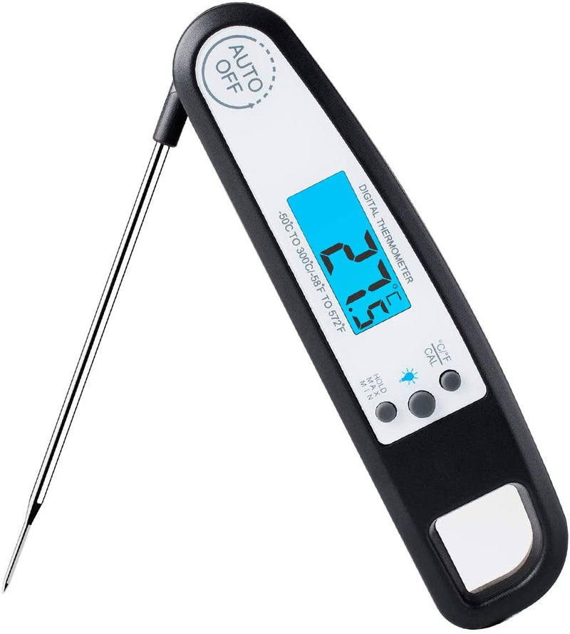 A ALPS Waterproof Instant Read Meat Thermometer Ultra Fast Digital Thermometer with LCD Backlight Display Kitchen Cooking Oven Thermometer Food Thermometer