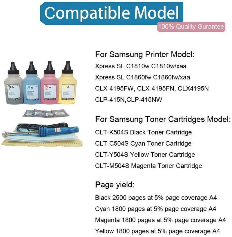 DINGLONG Toner Refill Kit Samsung Xpress C1860fw SL-C1860fw C1810w SL-C1810w C1860 C1810 Printer CLT-504s Compatible, 4-Pack