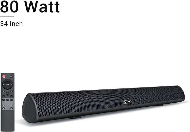80Watt 34Inch Sound bar, BYL Soundbar Bluetooth 5.0 Wireless and Wired Home Theater Speaker (DSP, Bass Adjustable, Optical Cable Included, Worry-Free 90-Day Trial, 2019 Upgraded)