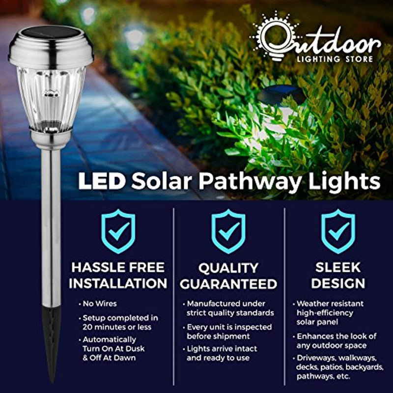 Set of 6 Solar Path Lights, Low Voltage, Wireless LED Solar Pathway Lights for Lawns, Gardens, Yards, Patios, More; Stainless Steel Pathway Lights to Brighten & Enhance The Look of Any Outdoor Space