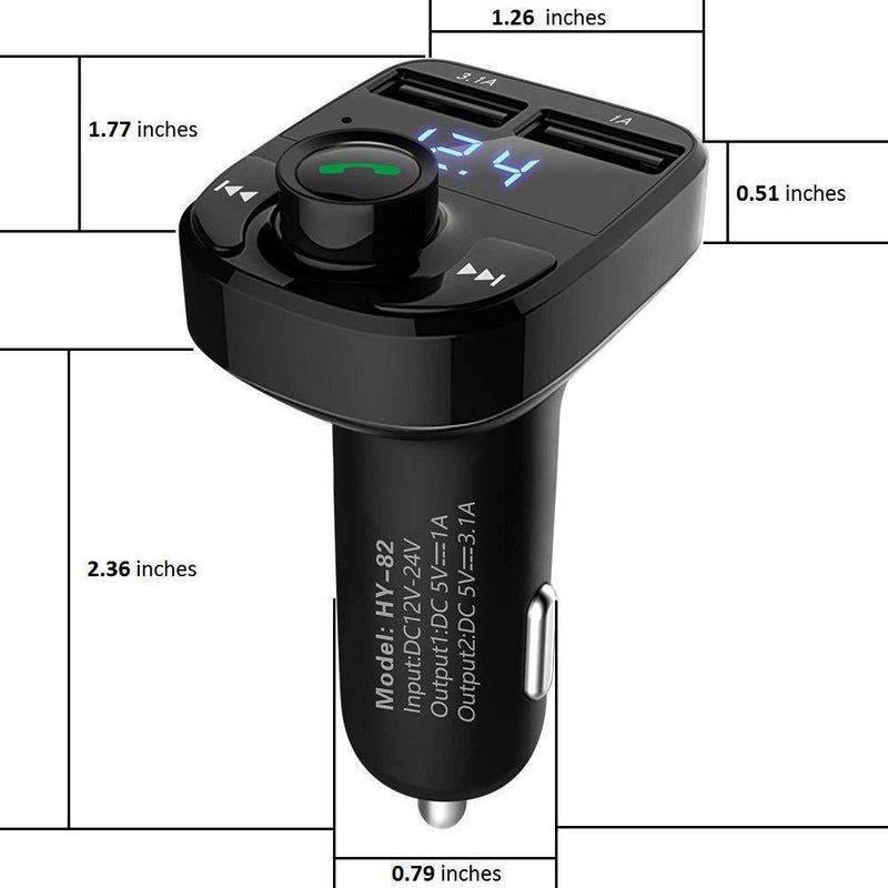Handsfree Call Car Charger,Wireless Bluetooth FM Transmitter Radio Receiver,Mp3 Music Stereo Adapter,Dual USB Port Charger Compatible for All Smartphones,Samsung Galaxy,LG,HTC,etc.