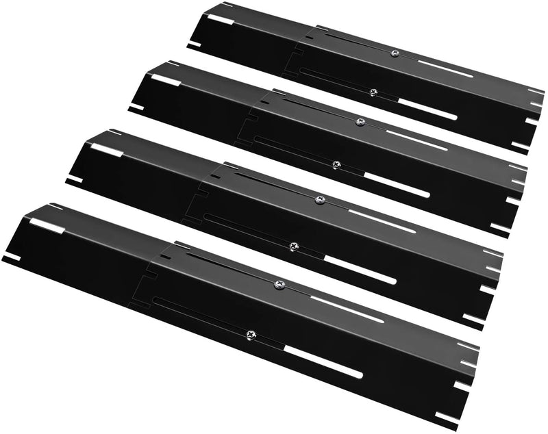 "Unicook Universal Replacement Heavy Duty Adjustable Porcelain Steel Heat Plate Shield, Heat Tent, Flavorizer Bar, Burner Cover, Flame Tamer for Gas Grill, Extends from 11.75"" up to 21"" L, 3 Pack"