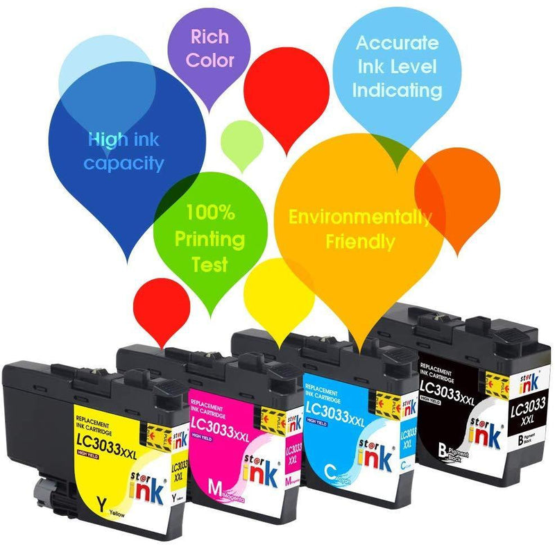 Starink Compatible Ink Cartridge Replacement for Brother LC3033 LC3033XXL Work for MFC-J995DW Printer BK/C/M/Y