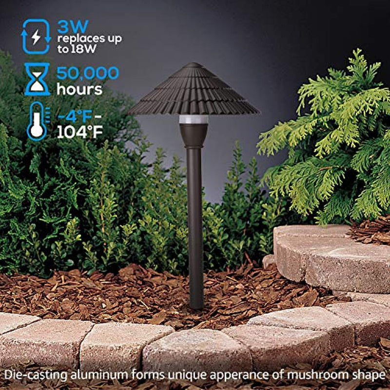LEONLITE 3W LED Landscape Light, 12V Low Voltage, Waterproof Outdoor Pathway Lighting, Aluminum Housing, Mushroom Shape, UL-Listed Power Cord, Garden, Yard, Lawn, Patio, 5 Years Warranty, Pack of 4
