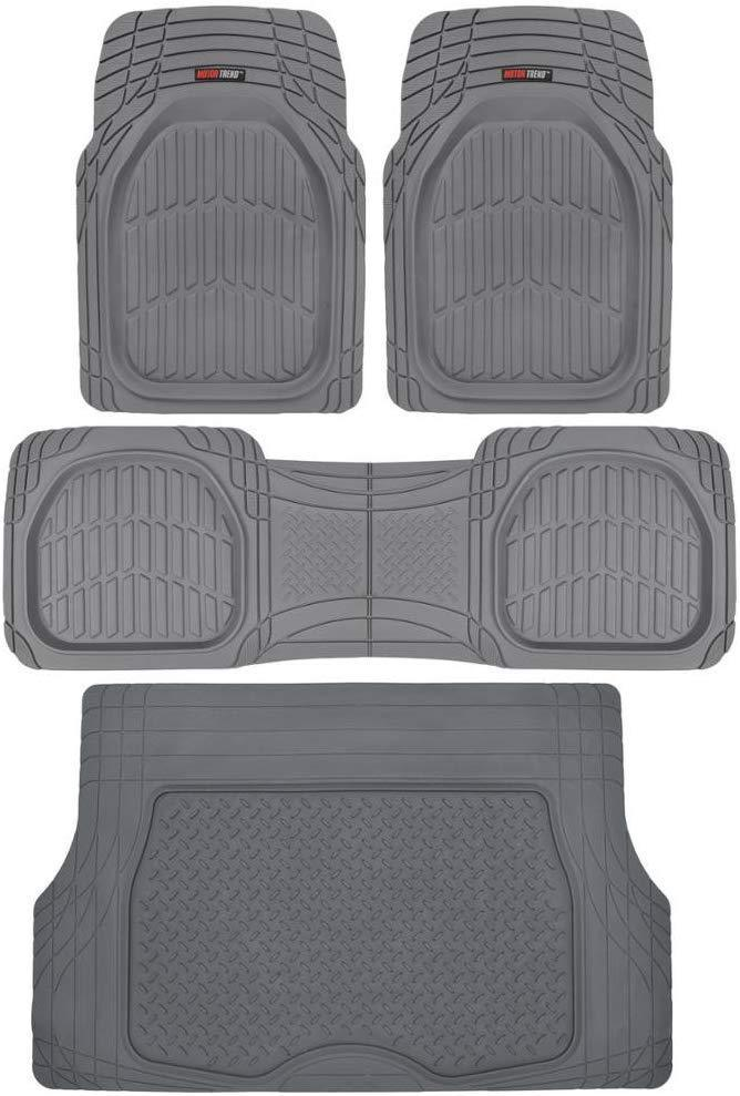 Motor Trend 4pc Gray Car Floor Mats Set Rubber Tortoise Liners w/ Cargo for Auto SUV Trucks