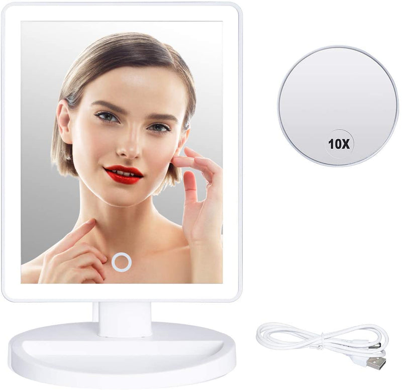 Benbilry Lighted Makeup Mirror - 37 LED Lighted Vanity Mirror with Detachable 10X Magnifying Mirror, Touch Screen Dimming, Dual Power Supply, 180° Rotation Cosmetic Mirror with Light