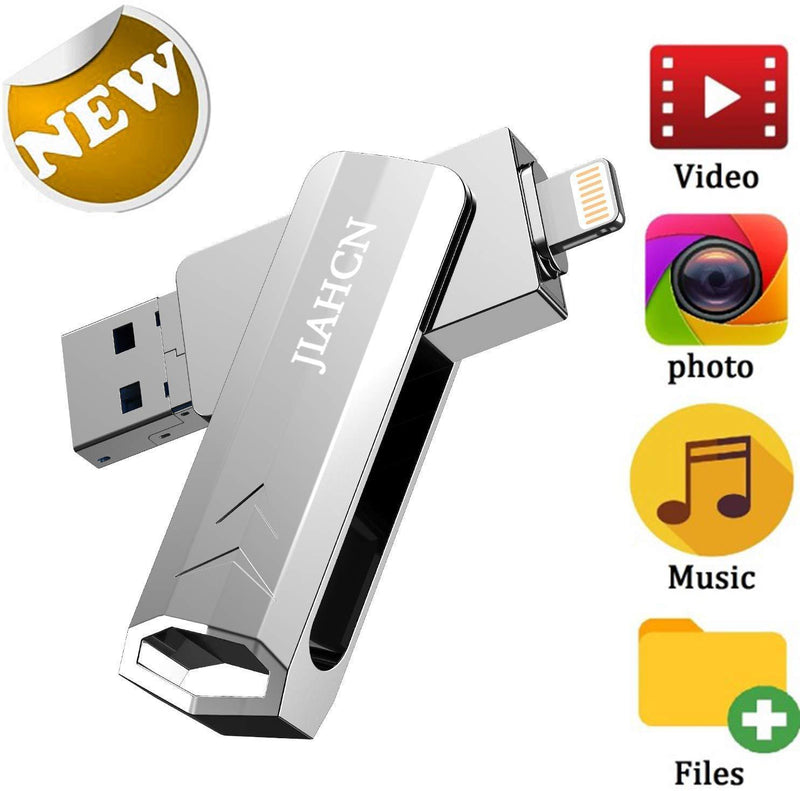 JIAHCN iFlash USB Drive for iPhone iPad 128GB USB Flash Drive for iPhone The Photo Stick for iPhone X XR XS MAX 6 7 8 Plus External Storage Drive for iPhone iPad Android PC Memory Stick 128GB Glod
