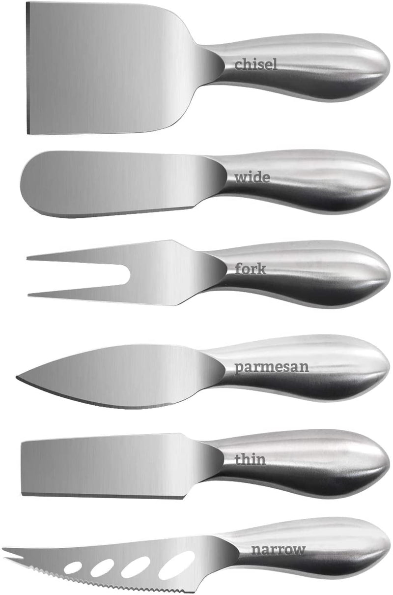 Home Perspective Premium Stainless Steel Cheese Tool Set - 6 Piece Box Cheese Knife Set - Cut, Spread, Shave and Serve All Your Favorite Cheeses