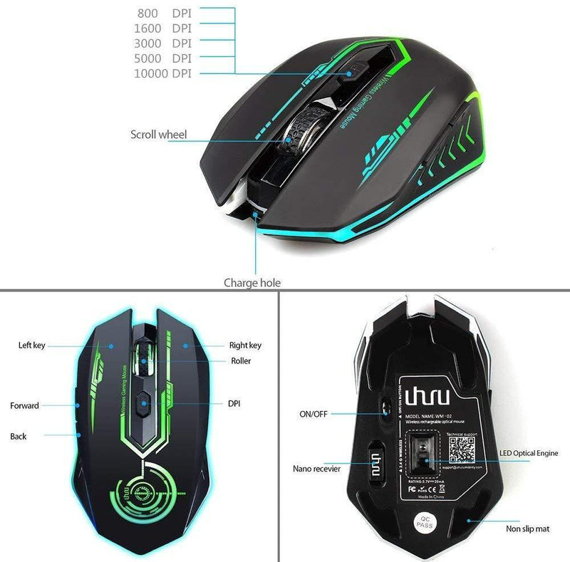 Wireless Gaming Mouse Up to 10000 DPI, UHURU Rechargeable USB Mouse with 6 Buttons 7 Changeable LED Color Ergonomic Programmable MMO RPG for PC Computer Laptop Gaming Players