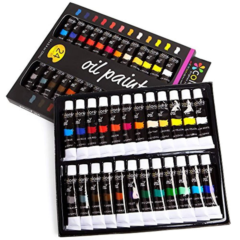 Colore Oil Paint Set – Perfect for Use On Landscape and Portrait Canvas Paintings – Great for Professional Artists, Students & Beginners - Set of 24 Richly Pigmented Oil Paint Colors