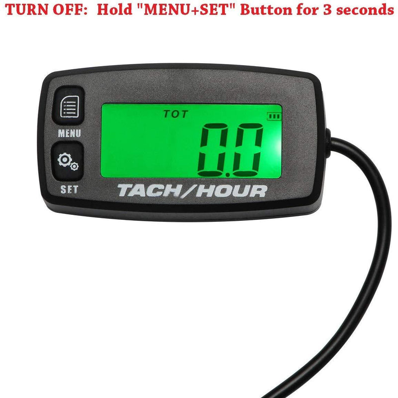 Backlit Upgraded Tach Maintenance RPM Hour Meter Tachometer Searon for RC Toys PWC ATV Motorcycles Marine Engines Chain Saws Tractors Lawnmowers