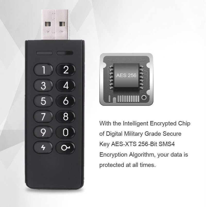 Encrypted USB Drive, INNÔPLUS Secure Flash Drive 256-bit 32 GB, U Disk USB 2.0, Hardware Password Memory Stick for Personal Protection, Aluminum Shell with FIPS Validated, Military Encryption Keypad