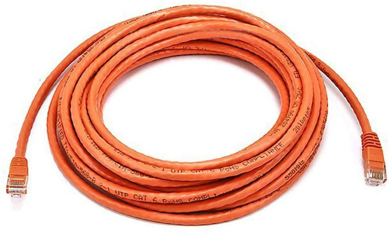 Monoprice 50FT 24AWG Cat6 500MHz Crossover Ethernet Bare Copper Network Cable - Orange