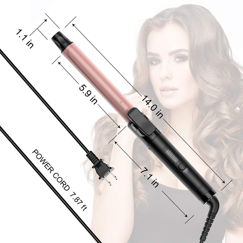 Benbilry Curling Iron 1.1 Inch Curling Wand with Ceramic Coating Barrel, Anti-Scald Insulated Wand Tip, 285°F to 430°F for All Hair Types, Include Heat Resistant Glove