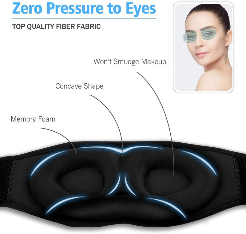 Sleep Headphones, Dodocool Sleeping Headsets, Sleep Eye Mask with Built in Speakers, 3D Contoured Cup, for Insomnia, Side Sleeper, Nap, ASMR, Air Travel, Meditation, Relaxation