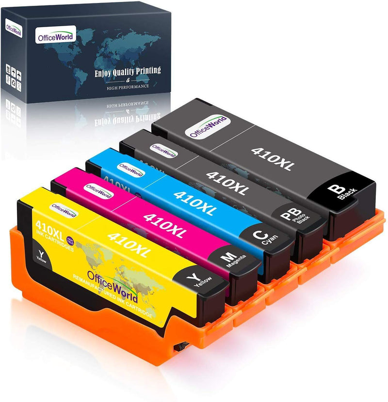 OfficeWorld Remanufactured Ink Cartridge Replacement for Epson 410XL 410 XL to use with Expression XP-530 XP-630 XP-635 XP-640 XP-830 XP-7100 (Black, Photo Black,Cyan, Magenta, Yellow) 5-Pack