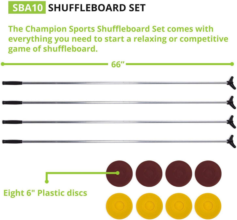 Champion Sports Classic Group Games Shuffleboard Set Indoor Outdoor 8 Puck 4 Cue Sticks Party Game