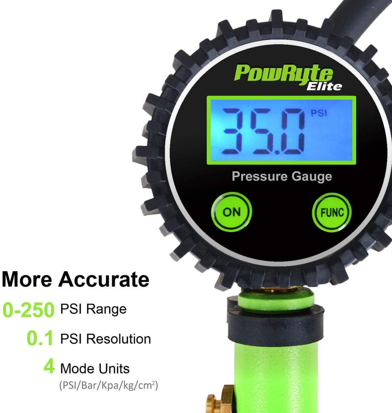 PowRyte Elite Tire Inflator with 250 PSI 0.1% High Accuracy Digital Tire Pressure Gauge and 12 Piece Accessoires Including 3 Piece Air Chucks,Green
