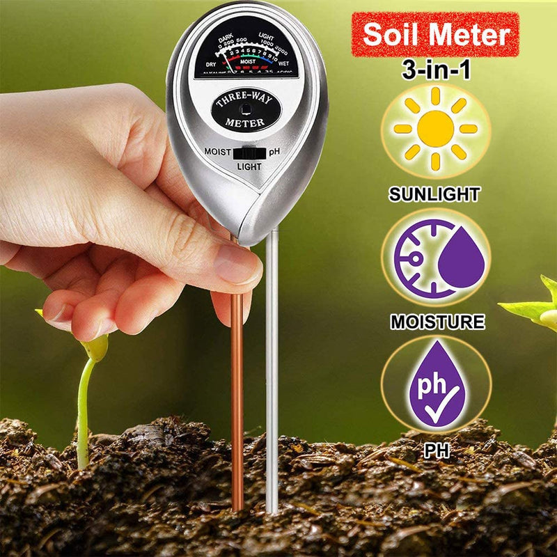 Womtri Soil Tester,3-in-1 Soil Test Kit with Moisture,Light and PH Test,Soil Moisture Meter,Great for Garden, Lawn, Farm, Indoor & Outdoor Use (Silver)