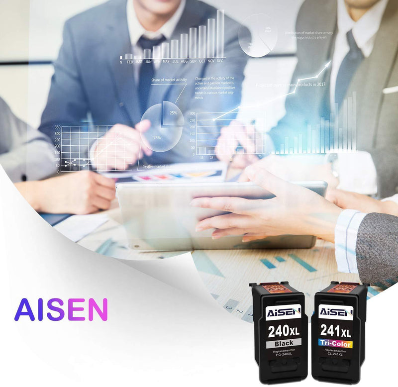AISEN Remanufactured Canon Ink Cartridges 240 and 241 Replacement for Canon PG-240XL 240 XL CL-241XL 241 XL Used in PIXMA MG3620 TS5120 MX472 MX452 MG3522 MG2120 MG3520 MG3220 (1 Black 1 Tri-Color)