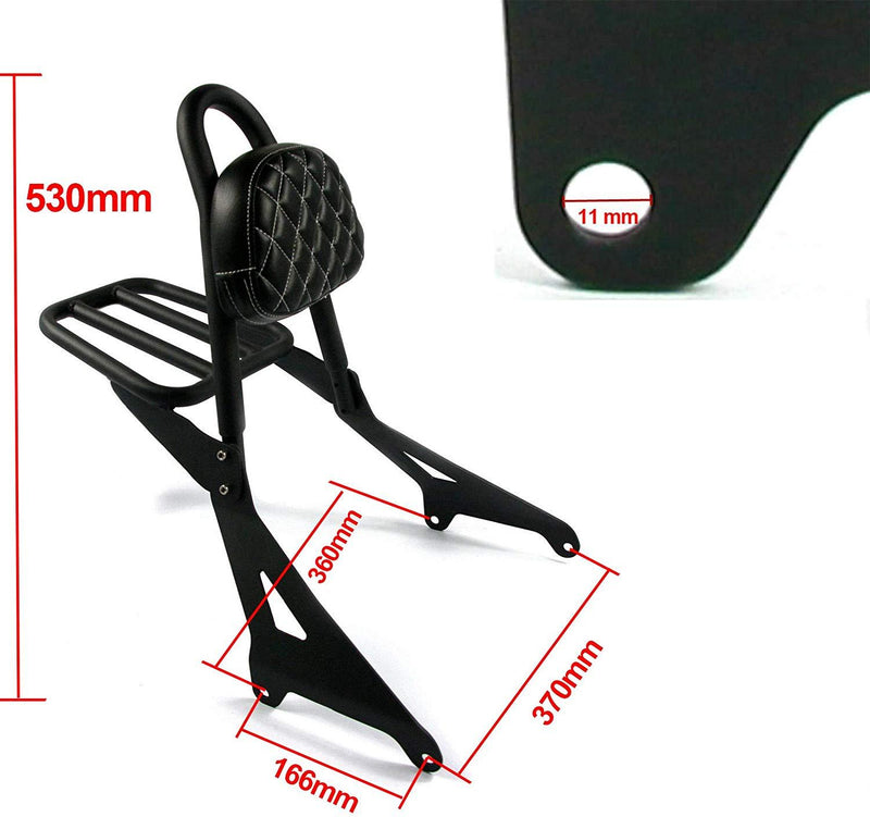 Motorcycle Detachable Backrest Passenger Pad Driver Rider Sissy Bar with Luggage Rack For Yamaha Stryker 1300 XVS1300