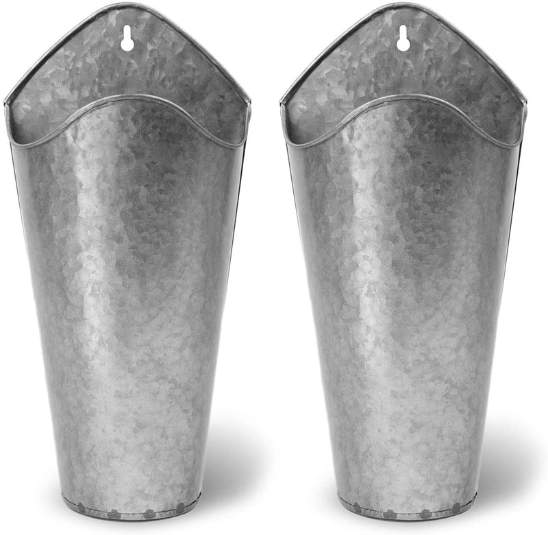 Akarden Galvanized Metal Wall Plant Container 2 Set Hanging Wall Vase Planter for Home Wall Decor